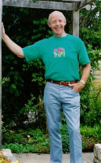 Barry Groves in his garden, June 2003