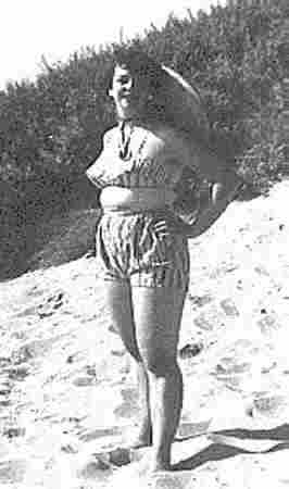 Picture of Monica in a two-piece bathing costume to show how overweight she was in 1959